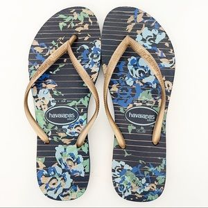 LOT Havaianas Slim Gold Floral Old Navy Flip Flops